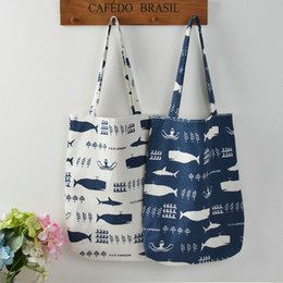 $enCountryForm.capitalKeyWord Canada - Wholesale- YILE 1 Layer NO lining Cotton Linen Shopping Tote Carrying Shoulder Bag Print Whale Octopus Sea Life 804