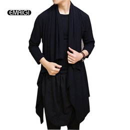Punk Trench Coat Hommes Pas Cher-Wholesale- Hommes Shawl à manches longues Cardigan Trench Coat Fashion Casual Long Jacket Male Stage Show Vêtements Punk Rock Outerwear