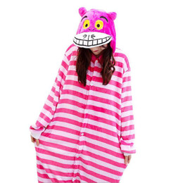 Barato Roupa De Inverno-Cheshire Cat Onesies Unisex Sleepsuit Adultos pijama de desenhos animados Cosplay Costumes Animal Onesie Sleepwear Winter Warm Jumpsuit