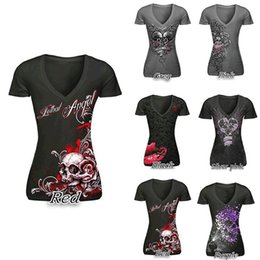Tee-shirts En Dentelle Manches Pas Cher-New Women T-Shirt Sexy Skull Print T-shirt à manches longues Lace Patchwork Black Tee Tops Pullovers Plus Size