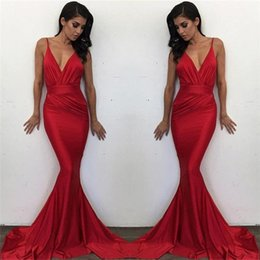 Barato Vestidos Formais Vermelhos Sexy Sem Costas-Sexy Deep V Neck Mermaid Red Prom Dresses 2018 New Straps Backless Long Evening Gowns Cheap Formal Party Wear BA6575