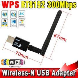 $enCountryForm.capitalKeyWord Canada - Wholesale- Mini USB Wireless wifi Adapter with 5dB Antenna 300Mbps LAN Network LAN Card Portable Mini Router for Desktop Laptop 802.11b g n