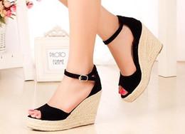 $enCountryForm.capitalKeyWord Canada - Summer new arrival 2017 women's shoes fashion Micro Suede straw braid buckle open toe platform wedges female 10cm and 7cm high heels sandals