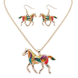 Fashion jewelry sets online shopping - Fashion Ethnic Jewelry Sets DHL Rainbow Horse Pendant Necklace Drop Earrings Gold Silver Colorful Drip Charm Gift for Women Bohemian Style