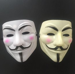 V Vendetta Cosplay Canada - Halloween Plastic Mask for Adult Fashion V- Vendetta Mask Decorative Props Full Face Ribbon Blush Cosplay Party Ball Costume