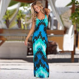 Maxi Long Été Plage Sundresses Pas Cher-Vente en gros- Sexy Women Summer BOHO Long Maxi Evening Party Robe longue Dresses de plage Sundress