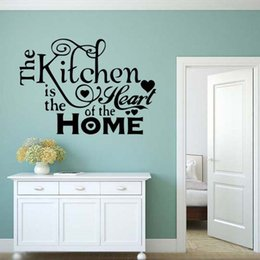 For Kitchen Heart Home Quote Wall Stickers Funny Art Dining Room Removable  Art Decorate Decals Diy Discount Dining Room Vinyl Wall Art