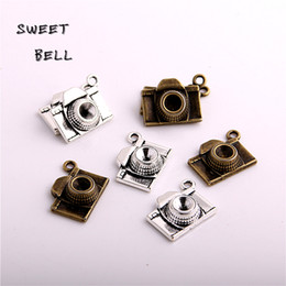 camera pendants wholesale Australia - SWEET BELL Min order 30pcs two color Zinc Alloy 3D Camera Charms Diy Jewelry Camera Pendant Charms Making D6126