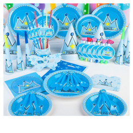 BaBy Blue wedding cakes online shopping - Blue Party Items Decorations Tableware Child Birthday Party Supplies Decorative Props Baby Birthday Dress Up Set Theme Party