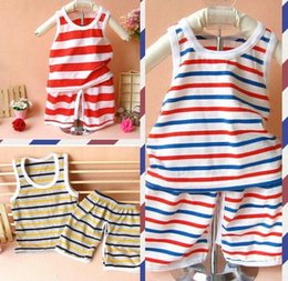 Grils Shirts NZ - baby Boys Grils Clothes infant cotton Striped Summer Clothing Sets Casual Suits Top T-shirt+Pants Kids Toddler Casual Sleeveless 1-6 years