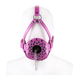 Solid ball gag online shopping - Fetish Slave Solid Ball Gag Bondage Sm Bdsm Full Head Harness PU Leather Bite Gag Mask Gag Muzzle Bondage Unisex Blue Pink
