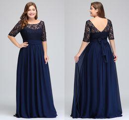 Темно-темно-синий черный бордовый половина длинными рукавами плюс размер платья выпускного вечера кружева верхней линии шифон V назад мать невесты Платья дешевые платья CPS522