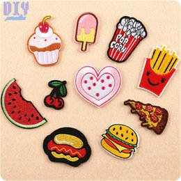 iron patches shoes Canada - French fries Hamburger Iron On Patches Popcorn Fruit Embroidered Applique Badge Bag Clothing Shoes Sewing Crafts DIY