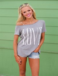 Shorts Tops For Womens Canada - Wholesale- Newest Hot Love Printing Casual Tops Womens Sexy Fashion Style Oblique Neck T-Shirt For Women Loose Tops Short Sleeve Clothes