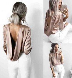 Tops À Dos Longs Pas Cher-2017 Automne Sexy satin Ruffles Femmes Blouse Hollow Out Back O Neck Long Sleeve Party Evening Blouse Ladies Tops Chemises