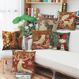 wholesale fox cushion covers UK - Christmas holiday red cushion cover pillowcase linen 44cm square fox owl deer snowman dog smooth fabric light weight home decor outdoor car
