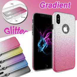 8 Case Canada - Hybrid Gradient Color Glitter Bling Shiny 3 in 1 Case TPU+PC Shockproof Back Cover For iPhone XS Max XR X 8 7 6 6S Plus Samsung Galaxy S9