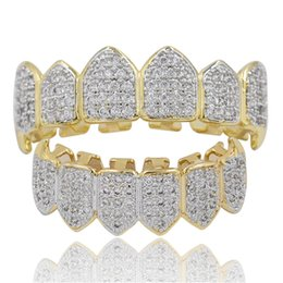 dental gold teeth Canada - Fashion teeth grillz Real gold plated Dental Grills CZ Micro Paved Hiphop Teeth Grillz Top&Bottom Grill Hip Hop Bling Men Jewelry Joyeria 54
