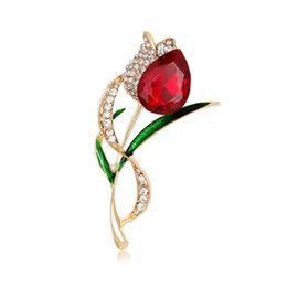 Discount painting tulips - 2017 Fashion Europe America Alloy Painted Enamal Rhinestone Flower Brooches Pin Tulip Corsage Jewelry Ornaments Scarf Ac