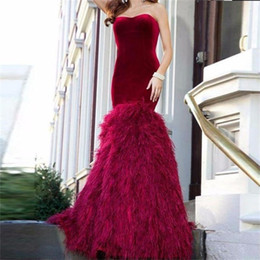 Barato Vestido Nu Mais Tamanho-Ostrich Feathers Mermaid Vestido Longo 2017 Sweetheart Burgundy Velvet Vestidos Formais Plus Size Luxus Engagement Dress