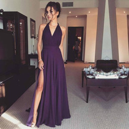 Long Halter Empire Robe De Bal Pas Cher-Purple Halter A Line Robes de bal Sexy Front Split Backless Long Robes de soirée en mousseline de soie Cheap High quality Pleats Women Prom Gown New