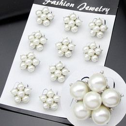 AfricAn AmericAn creAm online shopping - Bride Wedding Brooches Pearl Jewelry Mini Size Rhodium Silver Vintage Pins mm Cream Ivory Pearl Cluster Brooch Wedding Bouquet Accessory