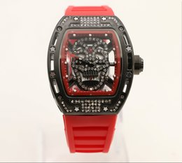 Chinese  Skull Tourbillon tonneau mens wristwatch 43mm diamond skeleton quartz watch watches transparent sapphire glass back red rubber band No 18 manufacturers