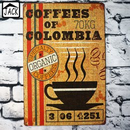 Coffee Housing Australia - COFFEE OF COLOMBIA Metal Tin Signs Coffee Shop decor House Restaurant Bar Poster Metal Tin painting 20*30 CM