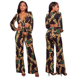 $enCountryForm.capitalKeyWord UK - Women Sets Sexy Bandage Short Crop Tops and Wide Legs Pants Fashion Gold Chain Printed Two Pieces Sets