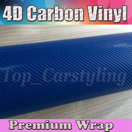 boat tables NZ - Blue 4D Carbon Fibre VINYL WRAP STICKER Air BUBBLE FREE CAR BIKE   Air release Car   Boat   table Covering 1.52x30m Roll 5x98ft