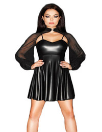 Chinese  Stylish Sexy Mesh Cloak Sleeve Mini Dress Low Cut Transparent Clubwear Wetlook Faux Leather Vestido Exotic Party Costume manufacturers