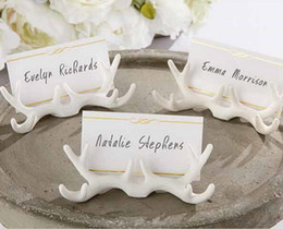 Discount name place holder cards - 20pcs White Buckhorn Name Number Table Place Card Holder For Wedding Party New