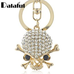 Chinese  beijia Punk Gothic Skeleton Skull Key Chains Rings Crystal Bag Buckle Pendant For Car Keyrings KeyChains K299 manufacturers