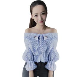 $enCountryForm.capitalKeyWord UK - Wholesale free shipping Hot Women Off The Shoulder Tops Bow Vertical Striped Vogue Summer Feminine Long Sleeve Slash Neck Blue Crop