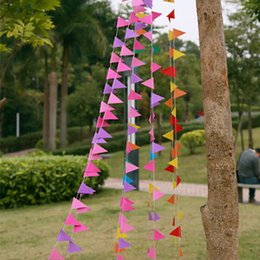 4m Bunting Colourful Triangles Flags Paper Garland Wedding Banner Photo Booth Props Birthday Party Supplies Decoration S201712