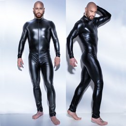 Barato Roupas De Couro Sexy Para Homens-Bodysuit de couro masculino Club Bar Stage Performance Customes Roupa sexy para homens Leather Fetish Jumpsuit