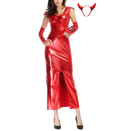 Barato Traje De Diabo De Couro-Novelty Special Design Womens Red Devils Sem mangas de couro Long Dresses Halloween Cosplay Costumes