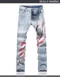 unique prints Canada - Top Quality Original Design Men's Unique Printing Jeans Punk Rock DS DJ Skull Printed Slim Jeans Cool Motorcycle Jeans