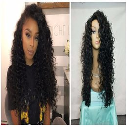 2018 synthetic afro hair braid Long Kinky Curly 1b Synthetic Lace Wig For Black Women High Quality Braided Synthetic Lace Front Wigs Afro Curly With Baby Hairs synthetic afro hair braid on sale