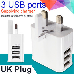 usb charger uk pin 2019 - 3 USB Port UK GB 3 Pin Plug Home Travel Wall Charger Power Adapter For Samsung galaxy s6 s7 edge note 4 5 for iphone 5 6