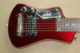 Mini travel guitars online shopping - Easy taking Custom Metallic Red Left Handed Hofner Shorty Travel Guitar Protable Mini Electric guitar Maple Neck With Cotton Gig Bag