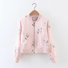 Ladies fLoraL bomber jacket online shopping - Bomber Jacket Women Long  Sleeve Embroidery Ladies Jacket Women c6a66261b