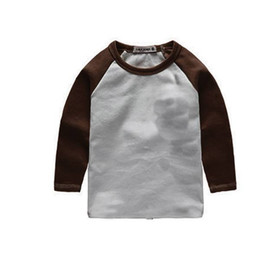 Girls solid brown t shirt online shopping - brown long sleeve o neck tee icing summer kids tee style shirts patchwork sleeve t shirt dress in selling