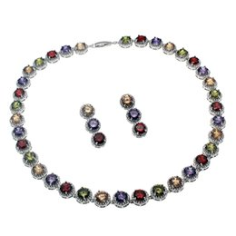 cherry jewelry sets Canada - Natural Gemstone Jewelry Sets Necklace Earrings 925 Sterling Silver Sapphire Cherry Ruby Cubic Zirconia Emerald Women Nice Gifts