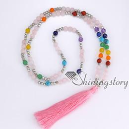 $enCountryForm.capitalKeyWord Canada - 7 chakra jewelry seven chakra necklaces with tassel meditation beads indian karma prayer beads tassel necklace wholesale yoga jewelry