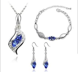 Discount women new top design - Top Quality Elegant luxury design new fashion Rose Gold plated colorful Austrian crystal drop jewelry sets women gift