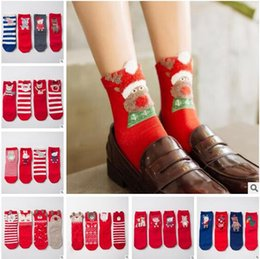 Cálidos Calcetines De Navidad Para Las Mujeres Baratos-Ladies calcetines de Navidad para las mujeres Adolescentes Soft Warm FALL Invierno Cute Fox Fox Snowman Xmas algodón Funny Calcetines Kids Calcetines de tobillo Corea Sock