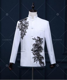 $enCountryForm.capitalKeyWord Canada - Stand collar men blazer designs chinese tunic suit stage costumes for singers men blazer dance clothes jacket style dress white