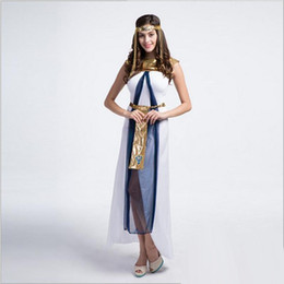 IndIan women sexy clothes online shopping - 10Pcs New Arrival Luxury Egyptian Queen White Long Dress Sexy Cosplay Halloween Uniform Temptation Stage Performance Clothing Hot Sale
