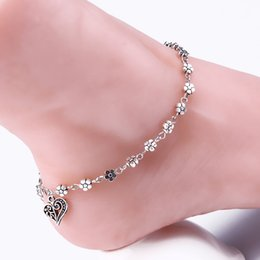$enCountryForm.capitalKeyWord Canada - XS Vintage Delicate Silver-Color Hidden Hollow Out Plum Flower Foot Ornaments Peach Heart Anklets Chain KR026